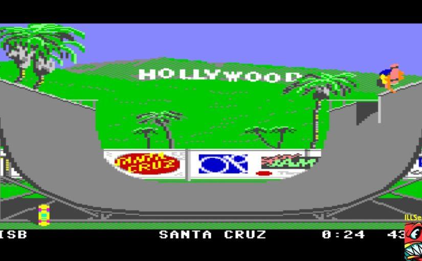 Skärmbild från skateboardåkning i halfpipe i Commodore 64-spelet California Games.