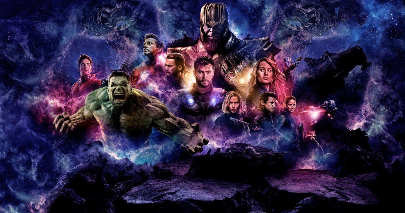 Tecknad bild av rollfigurer från filmen Avengers: Endgame.